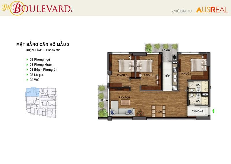 Thiết kế căn 02 dự án chung cư The Boulevard 22 Liễu Giai