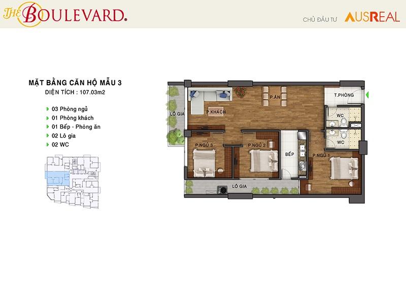 Thiết kế căn 03 dự án chung cư The Boulevard 22 Liễu Giai