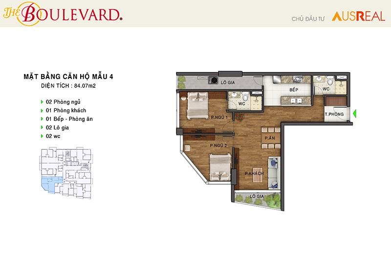 Thiết kế căn 04 dự án chung cư The Boulevard 22 Liễu Giai