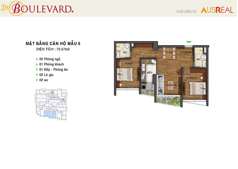 Thiết kế căn 05 dự án chung cư The Boulevard 22 Liễu Giai