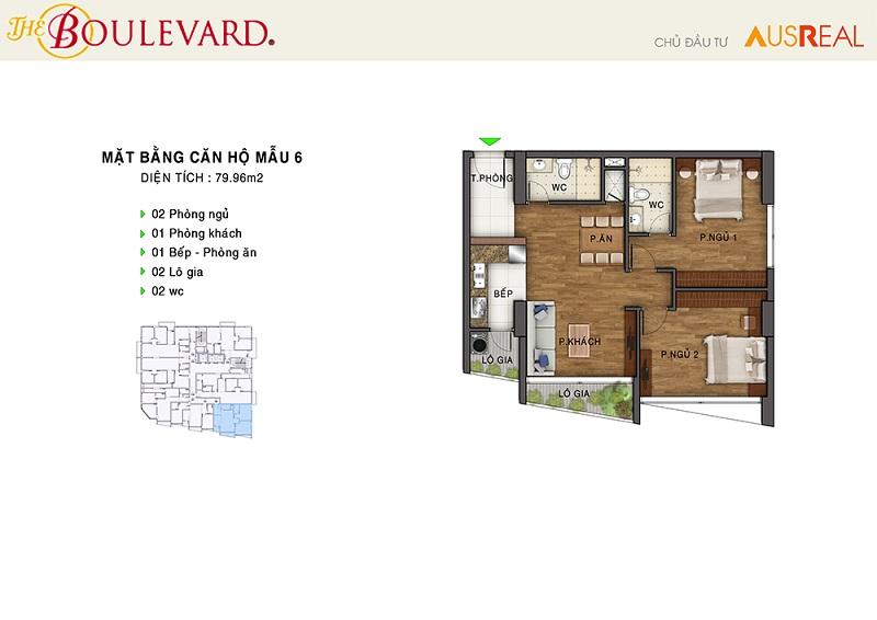 Thiết kế căn 06 dự án chung cư The Boulevard 22 Liễu Giai