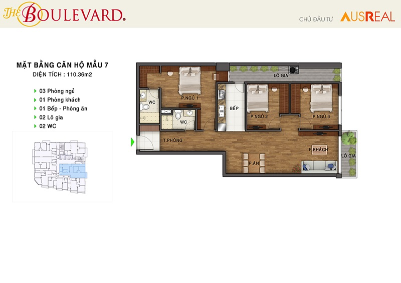 Thiết kế căn 07 dự án chung cư The Boulevard 22 Liễu Giai
