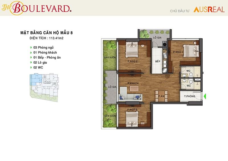 Thiết kế căn 08 dự án chung cư The Boulevard 22 Liễu Giai