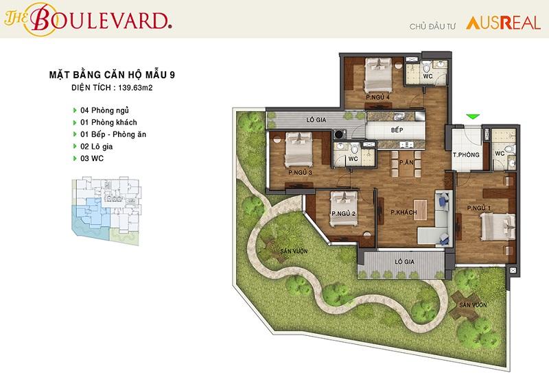 Thiết kế căn 09 dự án chung cư The Boulevard 22 Liễu Giai