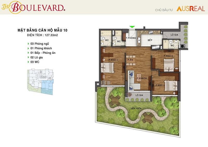 Thiết kế căn 10 dự án chung cư The Boulevard 22 Liễu Giai