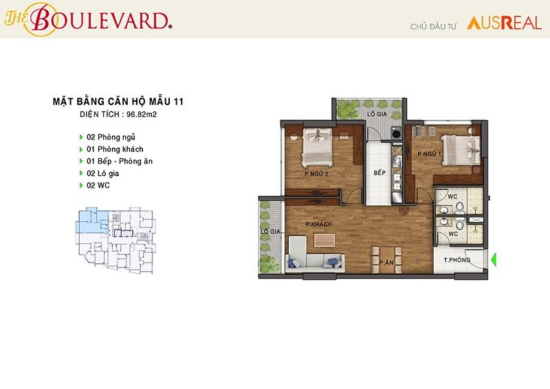 Thiết kế căn 11 penthouse dự án chung cư The Boulevard 22 Liễu Giai