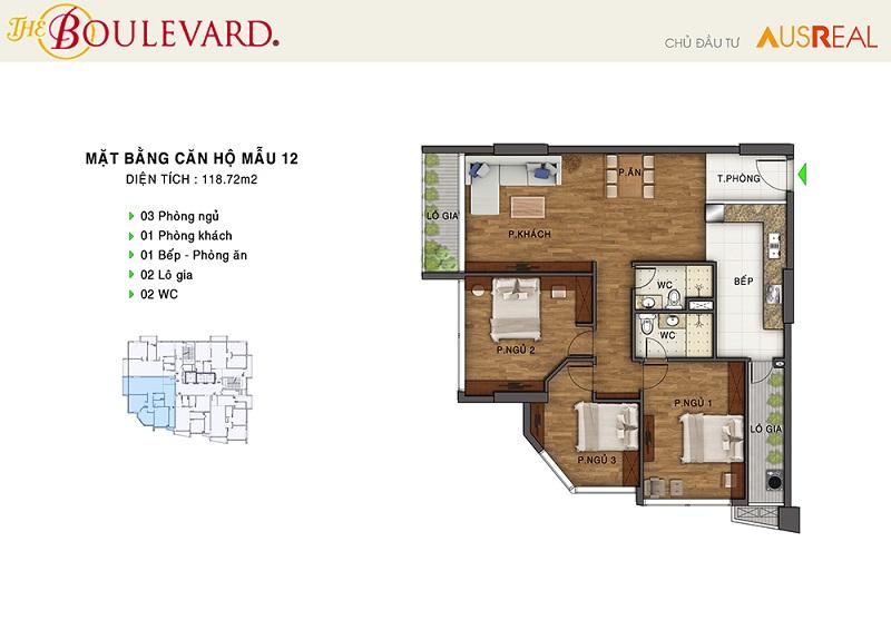 Thiết kế căn 12 penthouse dự án chung cư The Boulevard 22 Liễu Giai