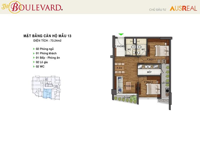 Thiết kế căn 13 penthouse dự án chung cư The Boulevard 22 Liễu Giai