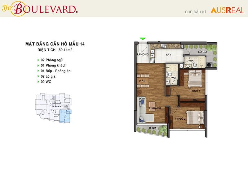 Thiết kế căn 14 penthouse dự án chung cư The Boulevard 22 Liễu Giai