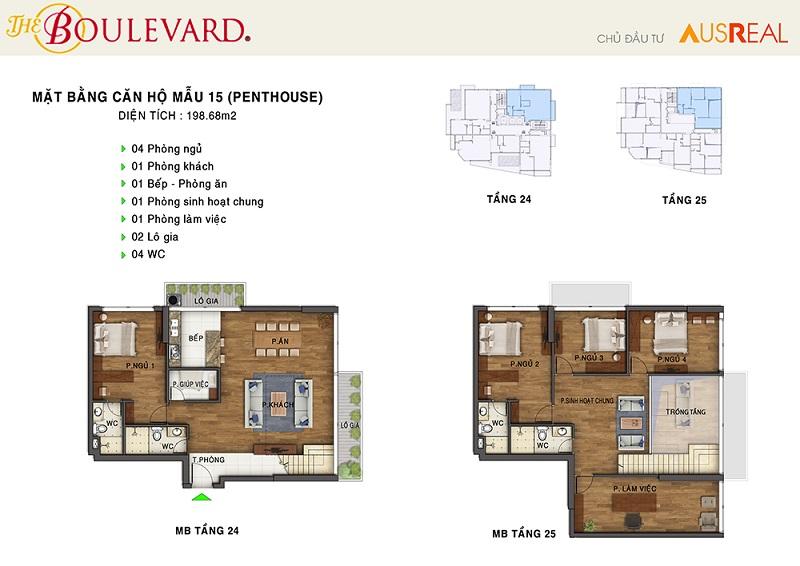 Thiết kế căn 15 penthouse dự án chung cư The Boulevard 22 Liễu Giai