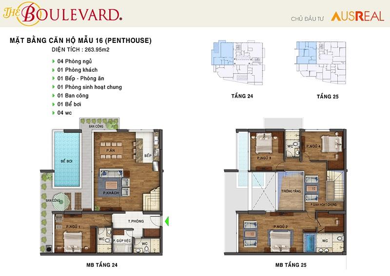 Thiết kế căn 16 penthouse dự án chung cư The Boulevard 22 Liễu Giai