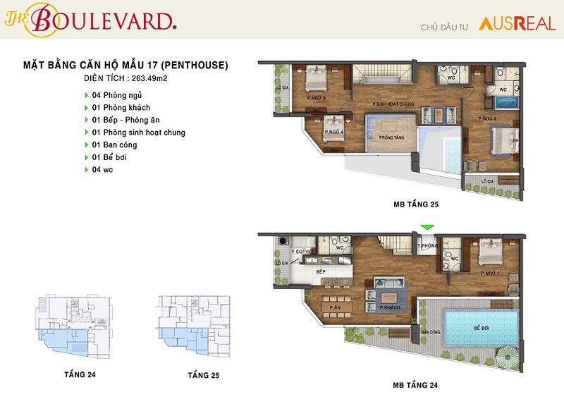 Thiết kế căn 17 penthouse dự án chung cư The Boulevard 22 Liễu Giai