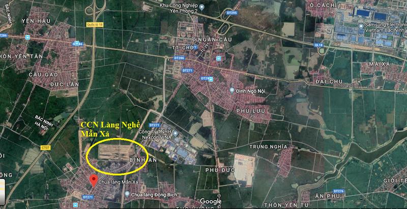 Vị trí dự án đất nền làng nghề Mẫn Xá - Bắc Ninh