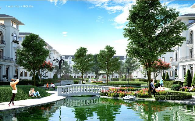 Cảnh quan biệt thự dự án Louis City Tân Mai Hoàng Mai