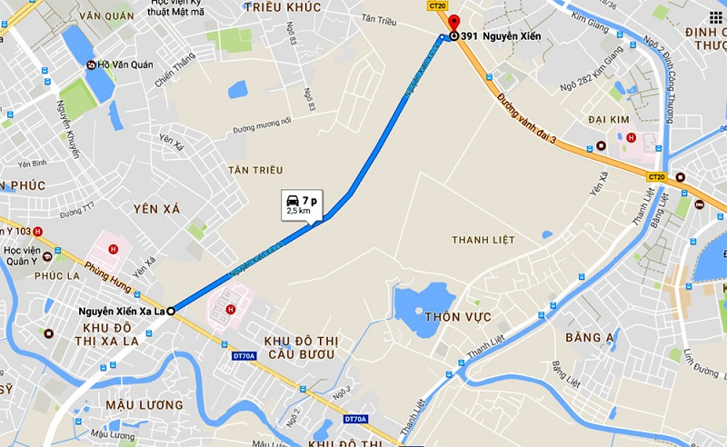 Đại lộ Xa La - Nguyễn Xiển tới dự án liền kề shophouse Kiến Hưng Luxury Hà Đông