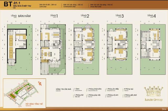 Thiết kế biệt thự 200m2 dự án Louis City Tân Mai Hoàng Mai