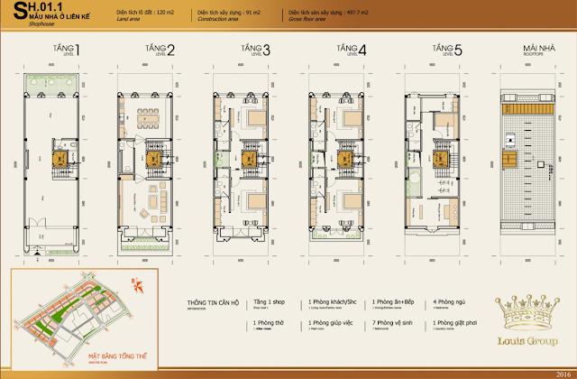 Thiết kế shophouse dự án Louis City Tân Mai Hoàng Mai