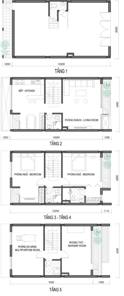 Mặt bằng các tầng mẫu shophouse điển hình dự án T&T DC Complex 120 Định Công