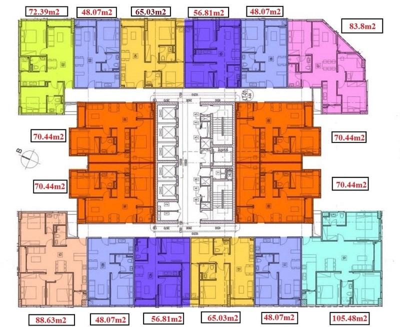 Mặt bằng chung cư dự án T&T DC Complex 120 Định Công