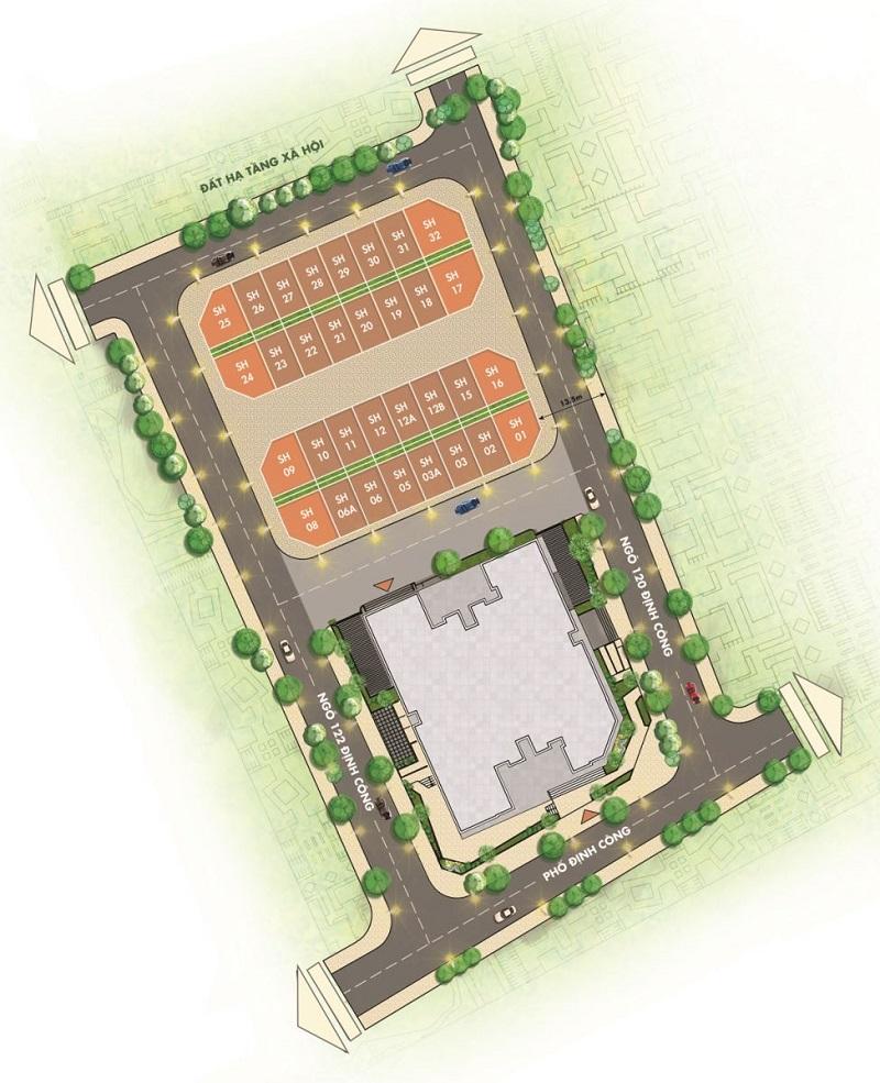 Mặt bằng phân lô shophouse dự án T&T DC Complex 120 Định Công