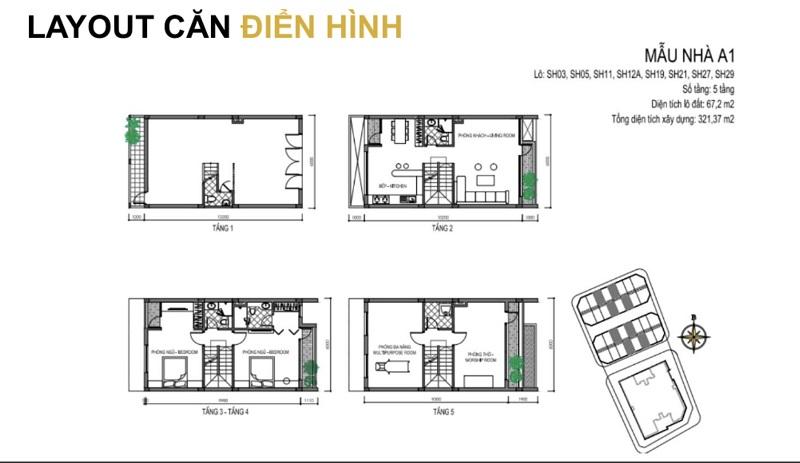 Mẫu thiết kế A1 shophouse dự án T&T DC Complex 120 Định Công