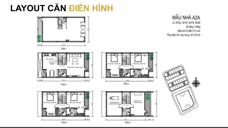 Mẫu thiết kế A2A shophouse dự án T&T DC Complex 120 Định Công