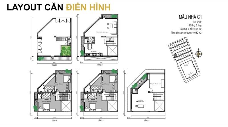 Mẫu thiết kế C1 shophouse dự án T&T DC Complex 120 Định Công
