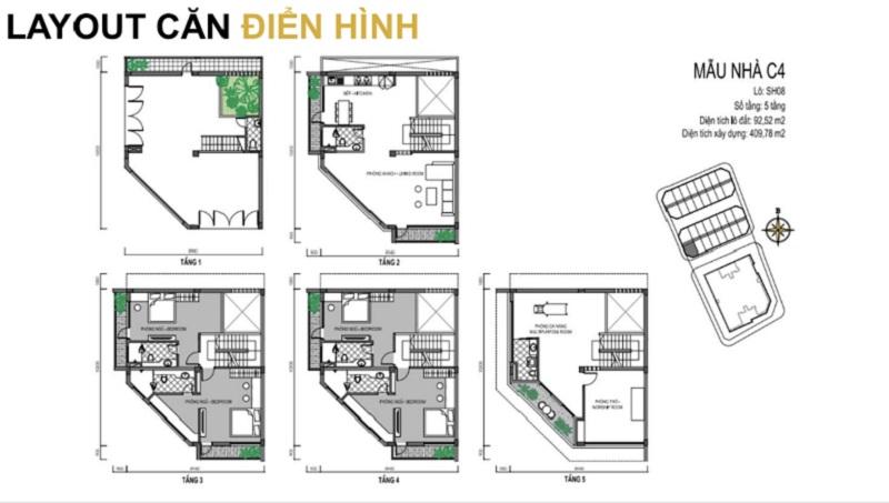Mẫu thiết kế C4 shophouse dự án T&T DC Complex 120 Định Công