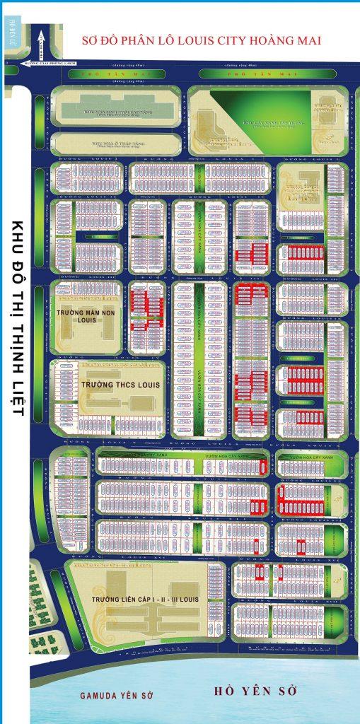 Sơ đồ mặt bằng phân lô dự án Louis City Tân Mai - Hoàng Mai 2020