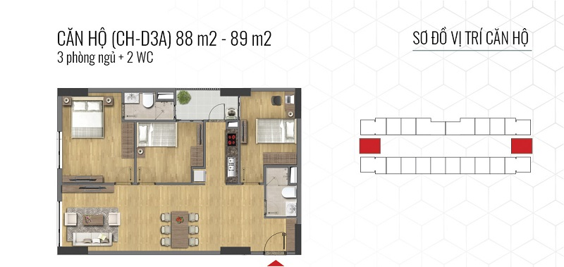 Thiết kế căn hộ loại B Epic Home Bộ Công An - 43 Phạm Văn Đồng
