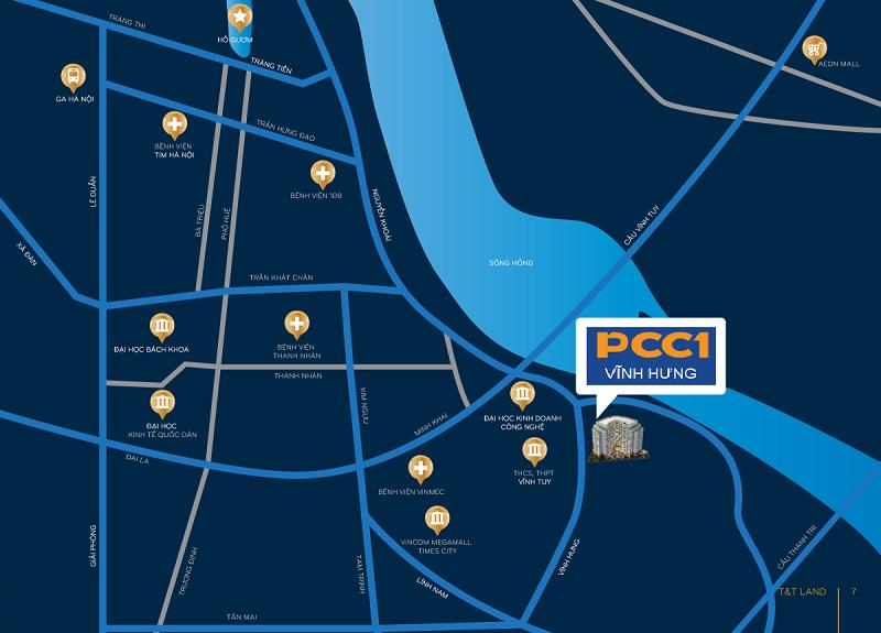 Vị trí dự án chung cư PCC1 Vĩnh Hưng - Hoàng Mai