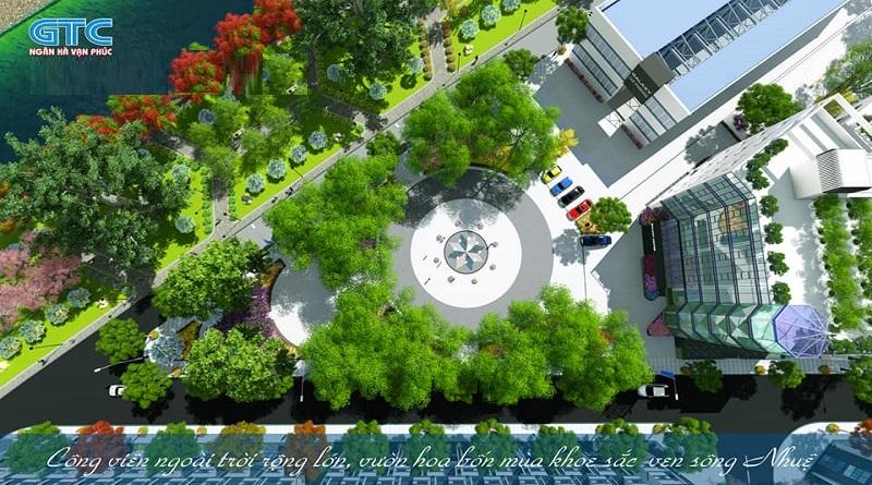 Vườn hoa cây xanh dự án Ngân Hà Vạn Phúc TSQ Galaxy Hà Đông
