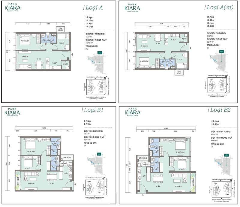 Thiết kế căn hộ A-Am-B-B1 chung cư Park Kiara dự án Park City Hà Nội
