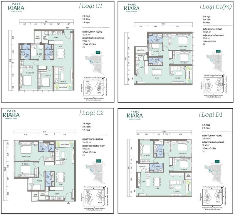 Thiết kế căn hộ C1-C1m-C2-D1 chung cư Park Kiara dự án Park City Hà Nội
