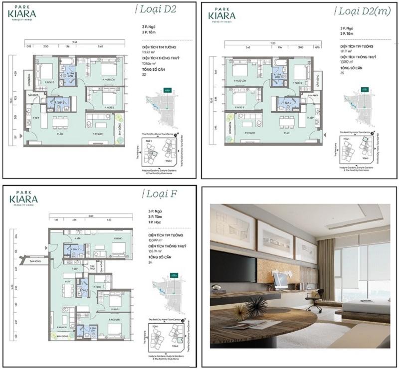 Thiết kế căn hộ D2-D2m-F chung cư Park Kiara dự án Park City Hà Nội