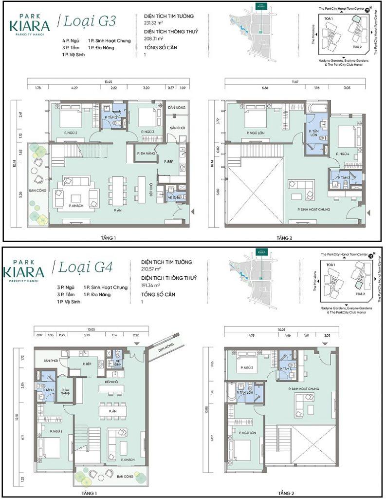Thiết kế căn hộ G3-G4 chung cư Park Kiara dự án Park City Hà Nội