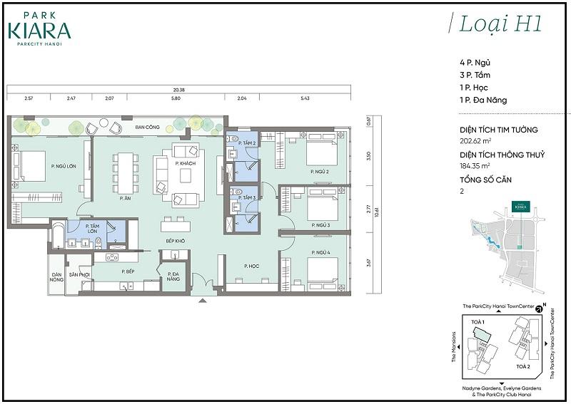 Thiết kế căn hộ H1 chung cư Park Kiara dự án Park City Hà Nội