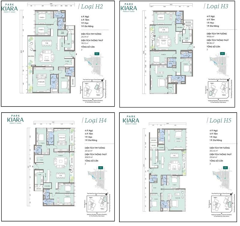Thiết kế căn hộ H2-H3-H4-H5 chung cư Park Kiara dự án Park City Hà Nội