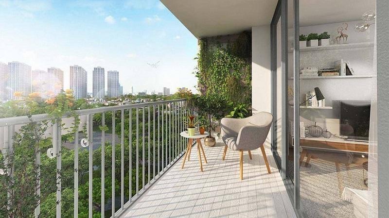 Ban công căn hộ dự án chung cư A63 Bộ Công An - Mễ Trì