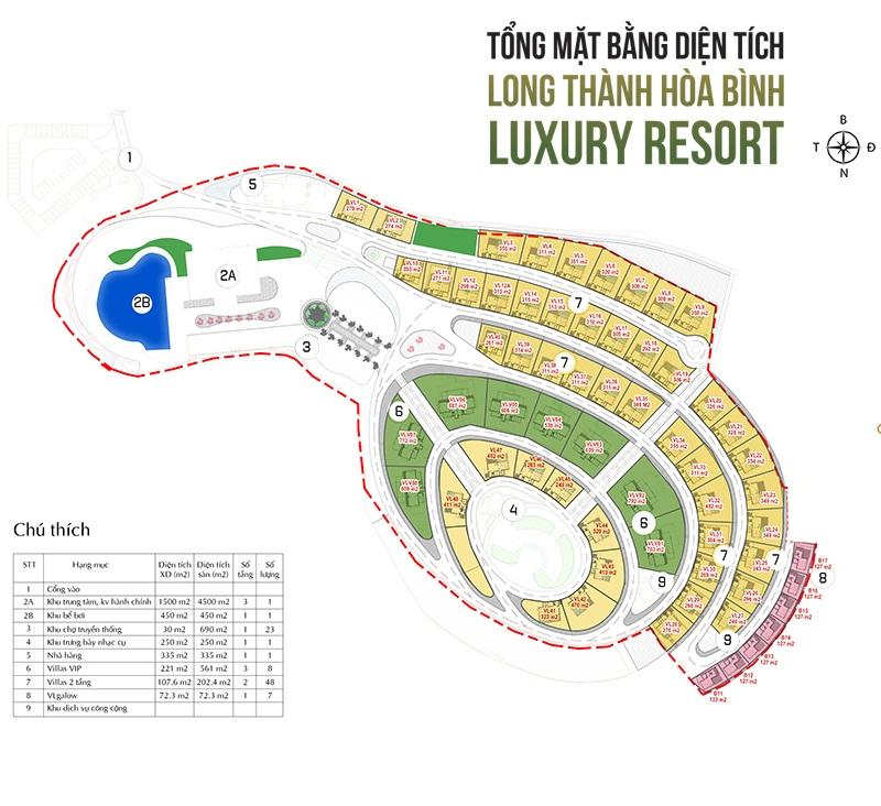 Mặt bằng dự án Long Thành Luxury Resort Hòa Bình