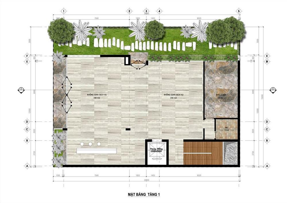Mặt bằng tầng 1 Minihotel dự án Flamingo Crown Bay Hải Tiến - Thanh Hóa