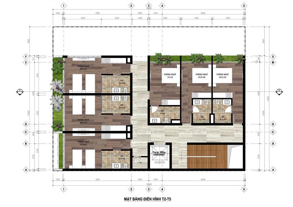 Mặt bằng tầng 2-5 Minihotel dự án Flamingo Crown Bay Hải Tiến - Thanh Hóa