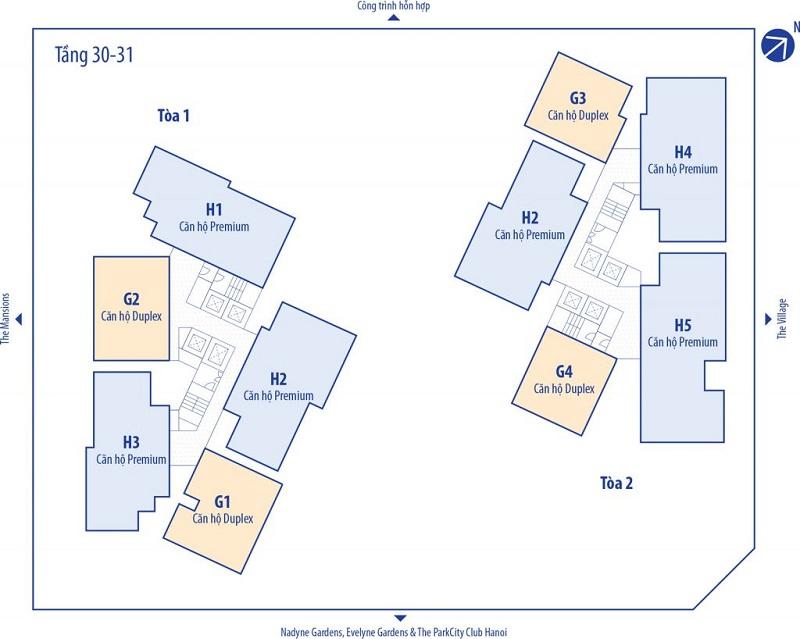 Mặt bằng tầng 30-31 chung cư Park Kiara dự án Park City Hà Nội