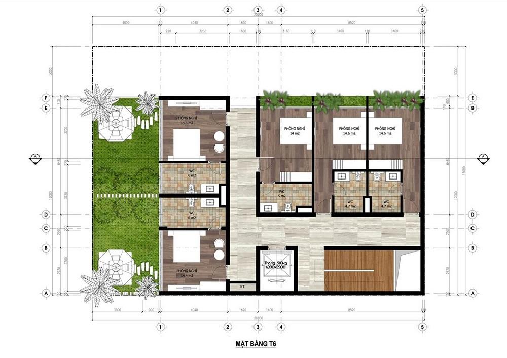 Mặt bằng tầng 6 Minihotel dự án Flamingo Crown Bay Hải Tiến - Thanh Hóa