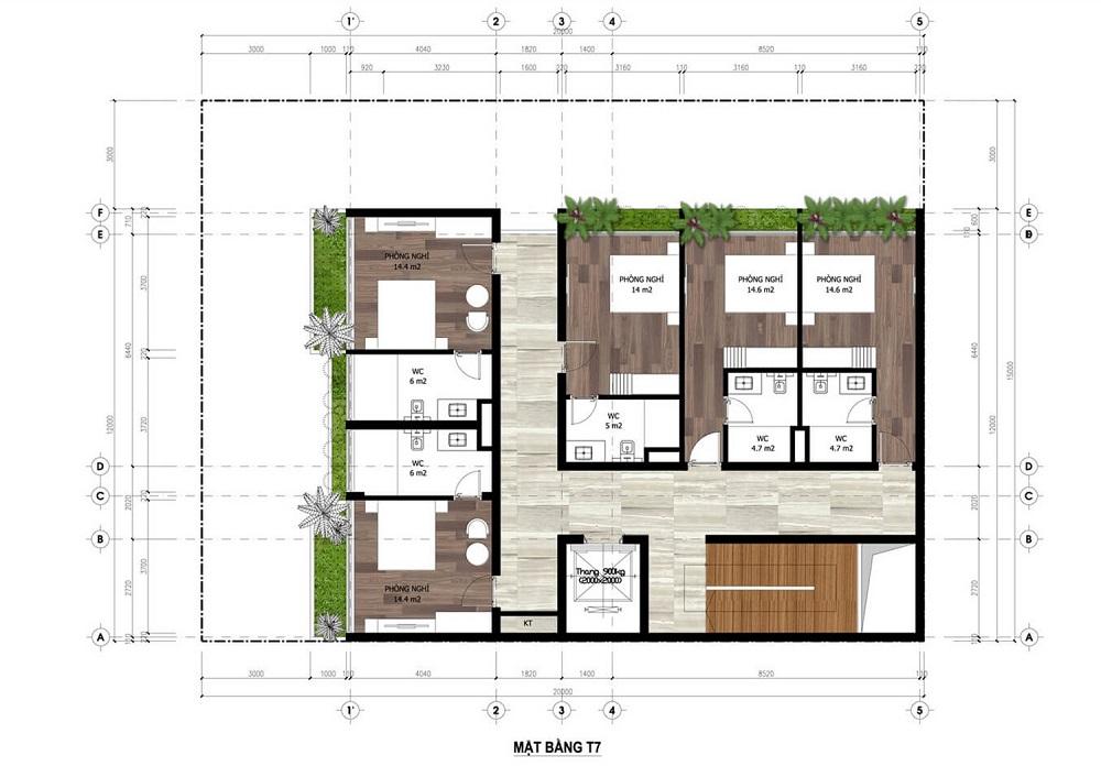 Mặt bằng tầng 7 Minihotel dự án Flamingo Crown Bay Hải Tiến - Thanh Hóa