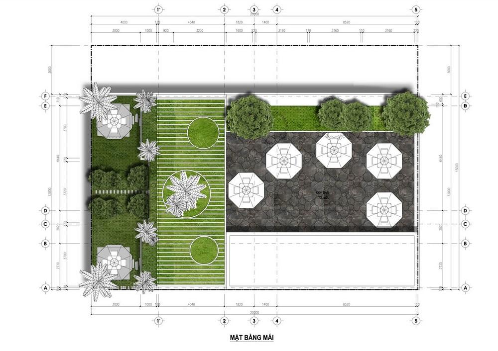 Mặt bằng tầng mái Minihotel dự án Flamingo Crown Bay Hải Tiến - Thanh Hóa