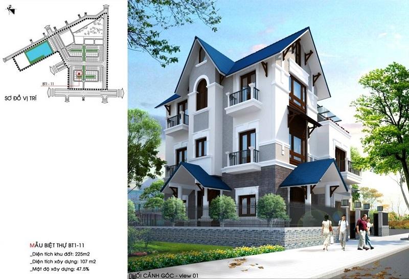 Mẫu nhà biệt thự dự án Hòa Bình New City (Sudico Bắc Trần Hưng Đạo)