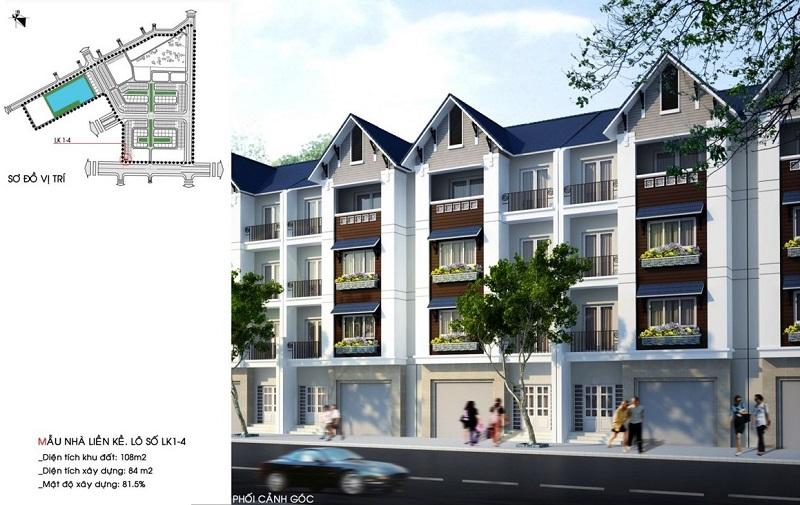 Mẫu nhà liền kề LK1-4 dự án Hòa Bình New City (Sudico Bắc Trần Hưng Đạo)