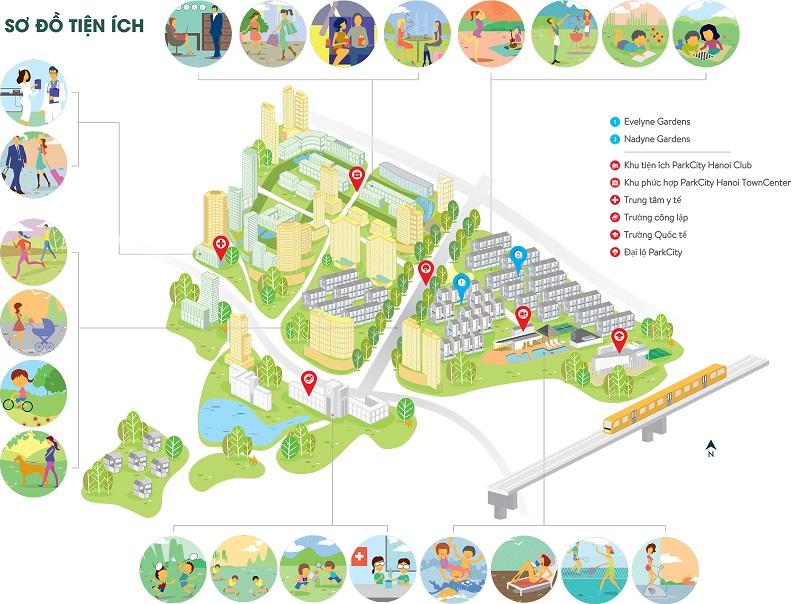 Sơ đồ tiện ích chung cư Park Kiara dự án Park City Hà Nội