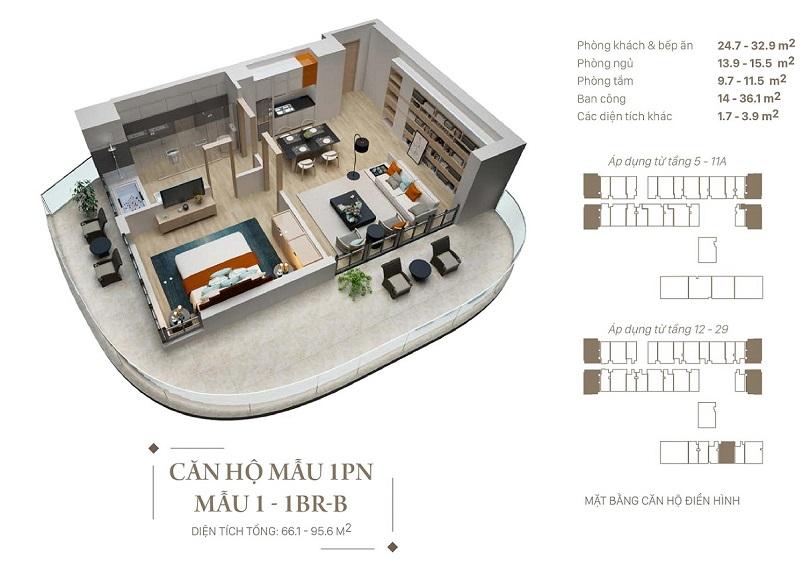 Thiết kế căn hộ 1pn dự án Citadines Hạ Long - Quảng Ninh